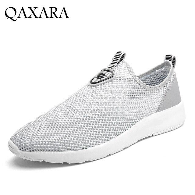 92009d63d33 QAXARA Visible Interior Mesh Men Casual Shoes Summer Comfortable Walking Black  Shoes Breathable Plus Size Antiskid
