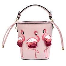 Flamingo rosa Cordão Saco Balde de Couro Das Mulheres Mensageiro Sacos de Mini Ombro Corpo Cruz Totes Encantadores Moda Bolsa Feminina