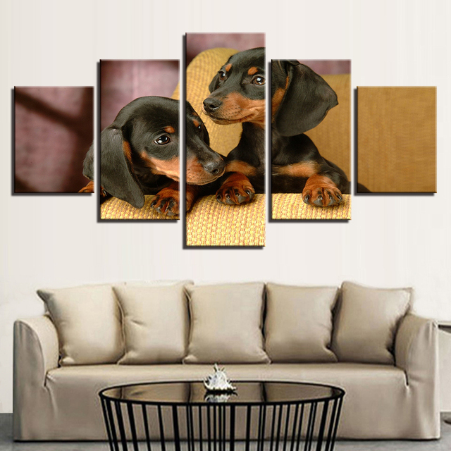 Canvas Posters Home Decor For Living Room Framework HD Prints Pictures 5  Pieces Dachshund Dogs Breed