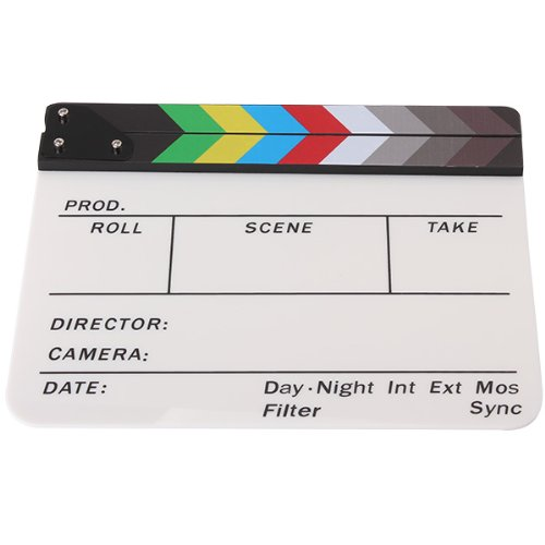 EDT-Generic Acrylic Colorful Clapperboard TV Film Movie Slate Cut Role Play Prop Hollywo ...