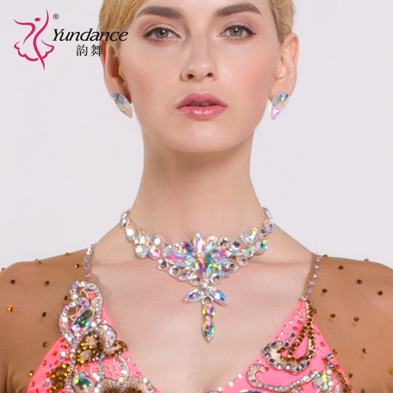 Lady Diamond Necklace Girls Dancing Rhinestone Necklace Female Modern Diamond Collar Wear Latin Accessories B 6586