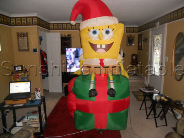 large cute airblown christmas inflatable spongebob with santa hat for xas party yard decoration christmas ornaments