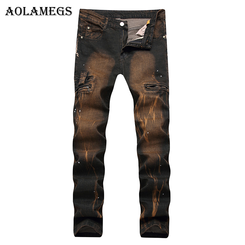 Aolamegs Men Jeans Hole Pants Bronze Yellow Colour Full Length Trousers with Zipper Summer Splicing Light Button Denim Straight hee grand 2017 spring summer men jeans full length business style slim fitted straight denim trousers plus size 29 40 mkn960