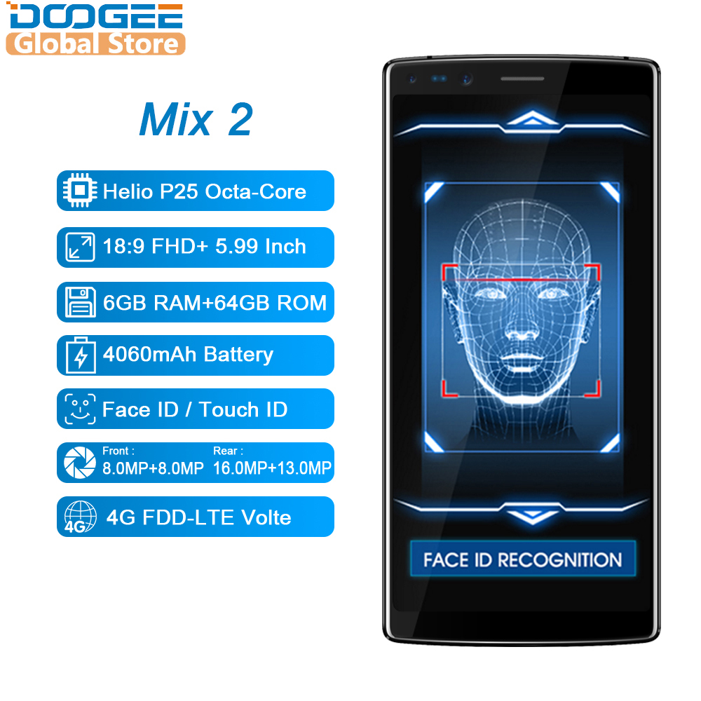 Image 2 - DOOGEE Mix 2 Android 7.1 4060mAh 5.99inch FHD+ Helio P25 Octa Core 6GB RAM 64GB ROM Smartphones Quad Camera 16.0+13.0MP-in Cellphones from Cellphones & Telecommunications