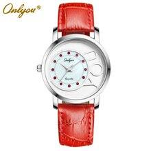 Onlyou Brand Genuine Leather Bracelet Watch for Women Men Quartz Wristwatche Ladies Fashion Casual Watch Lovers Watch 81013