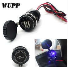 WUPP Universal Car Motorcycle Charger 5V 3.1A USB Vehicle 12V Waterproof Dual With Switch 2 Port Power Socket