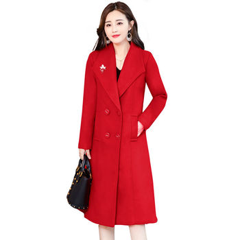 Plus Size 4XL Vintage Winter Coat Women Double-Breasted Elegant Long Wool Coat Abrigo Mujer Autumn Woolen Coat Warm Parka C4892