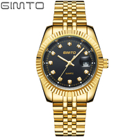GIMTO Top Brand Luxury Gold Quartz Men Watch Stainless Steel Crystal Business Carendar Male Watches Military
