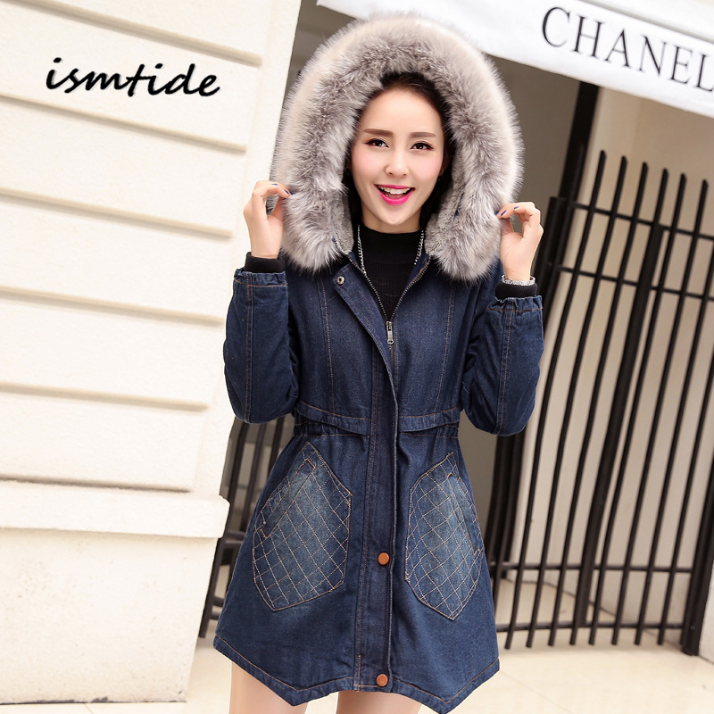Winter Denim Coat Women Fur Collar Warm Winter Denim Coat Hooded Casual Cotton Jacket Thick Long Sleeve Parka Femme Slim Coat zoe saldana 2017 winter women coat long cotton jacket fur collar hooded letter print outerwear femme casual parka