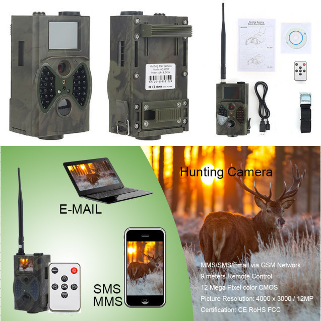 Photo Traps Deer Trail Camera 12MP Home Surveillance Digital Video Camera 1080P HD Scoutguard MMS GSM Hunting Camera Trap HC300M hd 12mp trail camera 1080p video