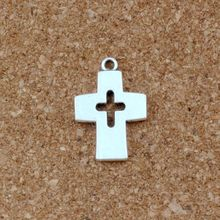 Hollow Cross Charm Beads Pendants 100pcs/lots Antique Silver Alloy Fashion Jewelry DIY 17x25mm A-486