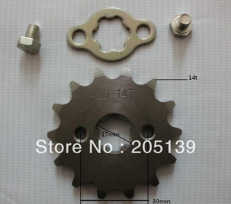 14t 17MM ENGINES tandwiel sprocket FOR 420 CHAIN motorcycle MOTO reverse gearbox go kart karting quad pitbik ATV parts bike in Sprockets from Automobiles Motorcycles