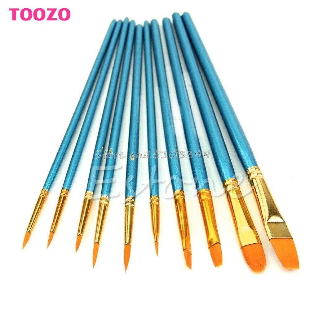 10Pcs Acrylic Nylon Hair Round Pointed Artists Watercolor Paint Brush Set