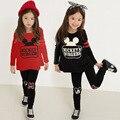 Muchachas que arropan el sistema Mickey Camisa de Manga Completa Impreso Legging Pantalones Bebé Niñas Chándal de Deporte Ropa Establece Niños Ropa de Bebé