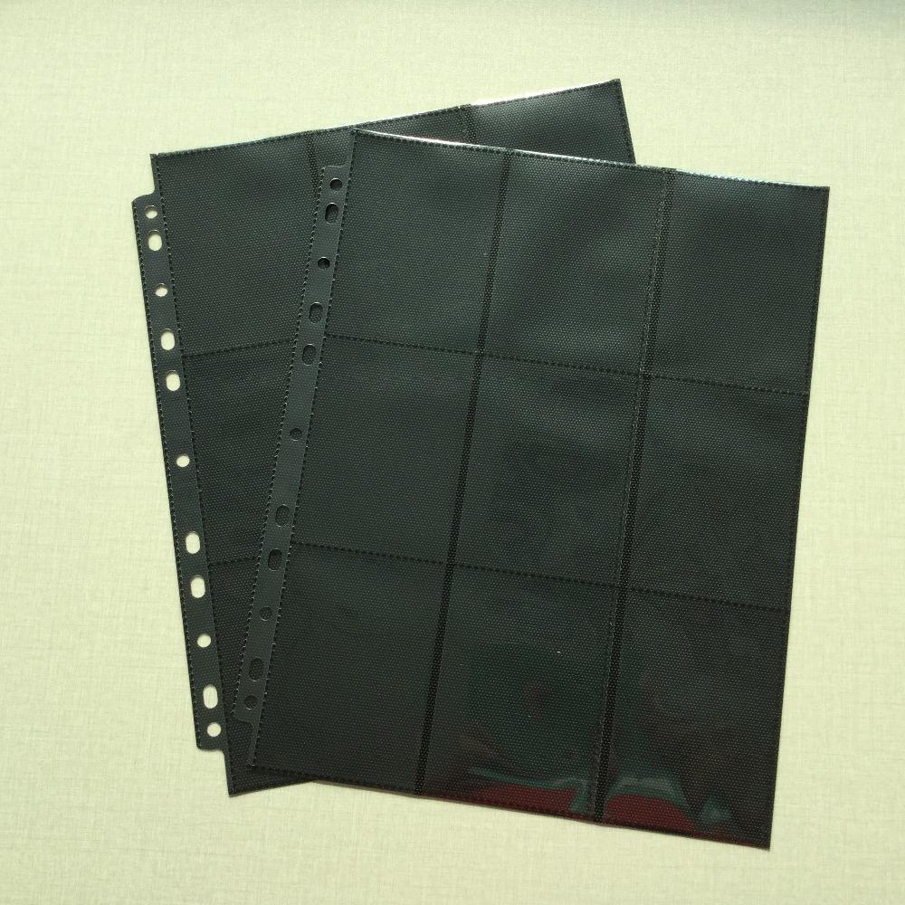 Prix pour 30 Pages/Lot De Cartes à Collectionner Protecteurs Noir (30 Nombre) Double Face 9 Poche Pages (Total 18 Poche) pour Jeux de société MTG Poke