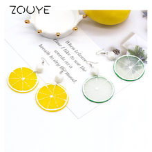 ZOUYE Orange Earrings Acrylic Food Eardrop Fairy Cute Romantic Eardrop Fashion Jewelry Earrings(China)