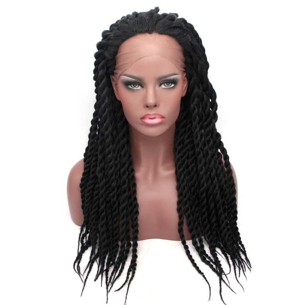 Feibin Lace Front Braid Wigs For Black Women High Temperature Fiber Full Head Braiding Hair Black Wig 14 16 18 20 24 inches c33-in Synthetic None-Lace  Wigs from Hair Extensions & Wigs