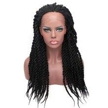 Парик Feibin на сетке спереди для чернокожих женщин, высокотемпературные волосы с плетением на всю голову, черный, 14 16 18 20 24 дюйма, c33