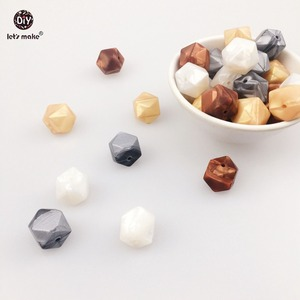 Image 5 - Lets Make Silicone Teether Metallic Copper Pearl White Geometric/Hexagon Silicone 50pc DIY Teething Necklace Beads For Teether