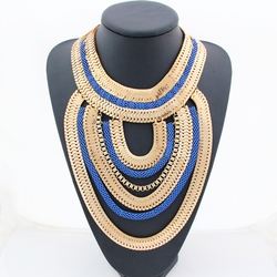 CirGen Women Chunky Gold Color Blue Color Chain Fashion Choker Statement Multi layer Tassel Pendant Bijoux Necklace Jewelry,D93