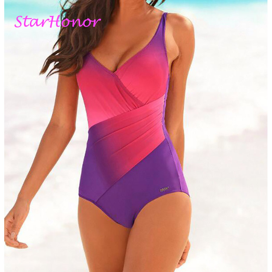 StarHonor Plus Size Women Rainbow Morphing One Piece Suit