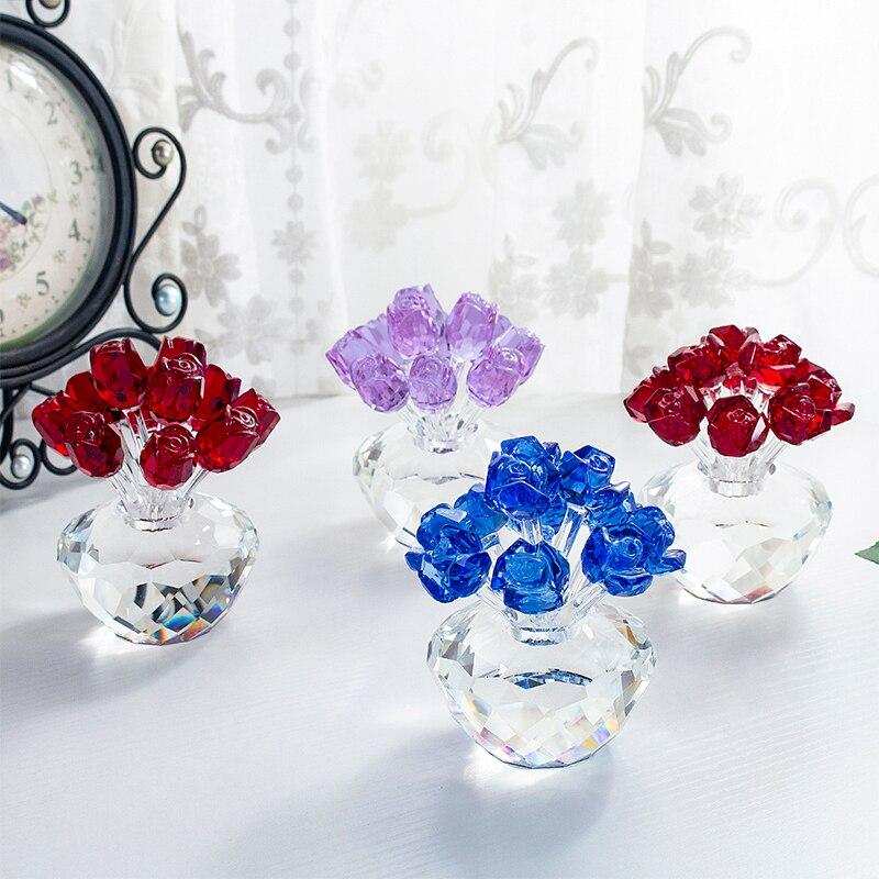 H & D 4 Styles cristal verre Rose fleur Figurines artisanat mariage saint valentin faveurs cadeaux Souvenir maison Table décor ornements