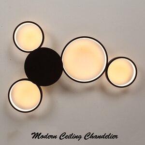 Image 5 - Kawa lub białe wykończenie nowoczesny żyrandol sufitowy Led światła do salonu Master Room AC85 265V Led żyrandol lampy