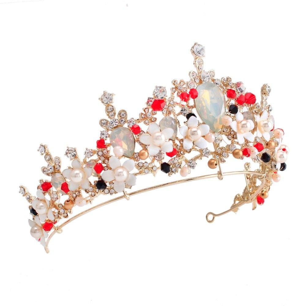 Pink flower crystal pearl wedding tiara bridal crown for wedding bride gold  color rhinestone crown headband jewelry accessories 74a79003e6da