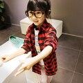2-7Y del niño infantil chicos de manga larga t-shirt Plaids Tops traje 2 colores
