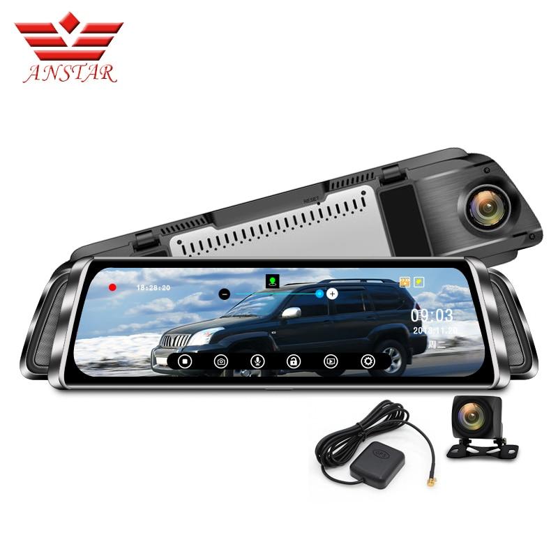 "ANSTAR 10 ""לרכב DVR זרם מראה אחורי מראה 1080P לילה ראיית דש מצלמת GPS Tracker רשם מקליט רכב עם מראה Rearview"
