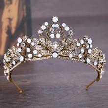 New Fashion Retro Crown Tiara Rhinestone Bead Headband Flowers Diadem Bridal Hair Jewelry Gift Charms Wedding Hair Accessories