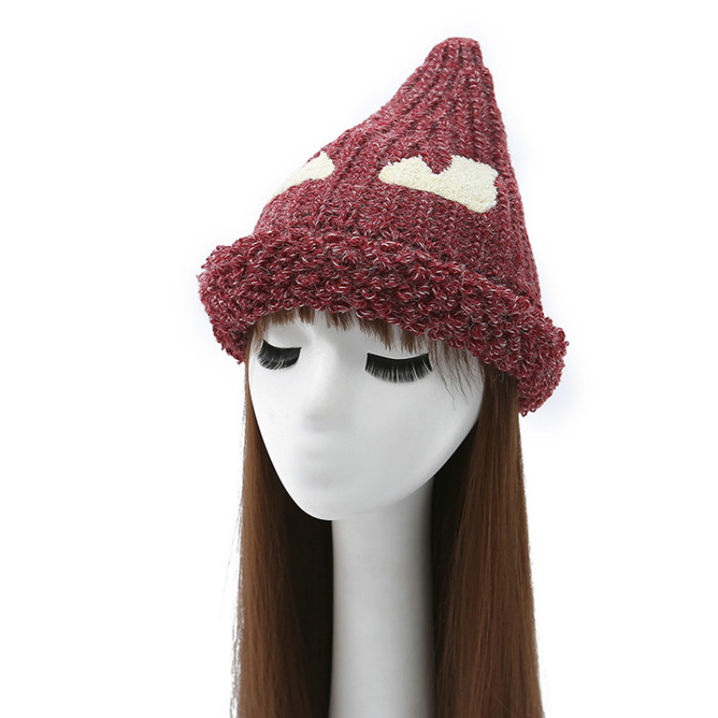 KUYOMENS New Cute Little Devil Triangle Knitted Hat Lady Large Woolen Cap In Autumn And Winter Ladies Fashion Skullies Beanies