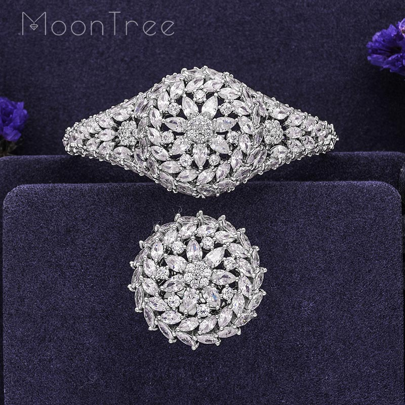 MoonTree Silver Color Floral Flower Geometry Fashion Luxury Super AAA Cubic Zirconia Women Engagement Bangle Ring Jewelry Set