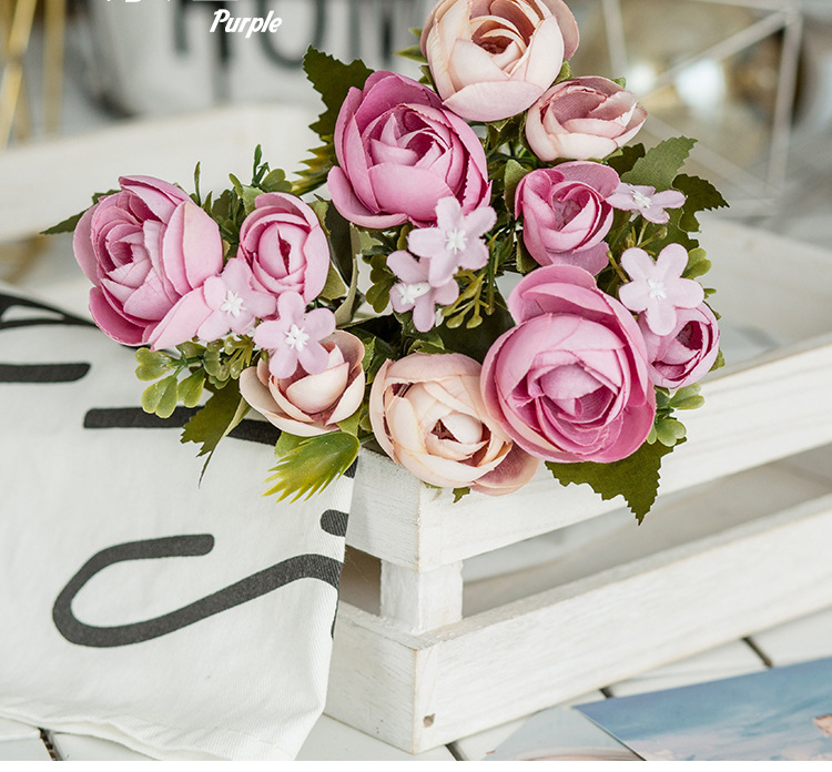 10 Heads Bouquet Rose Decor Artificial Flower Home Decor Imitation Fake Flower for Garden Plant Desk Decor Hand-Holding Flower (1)