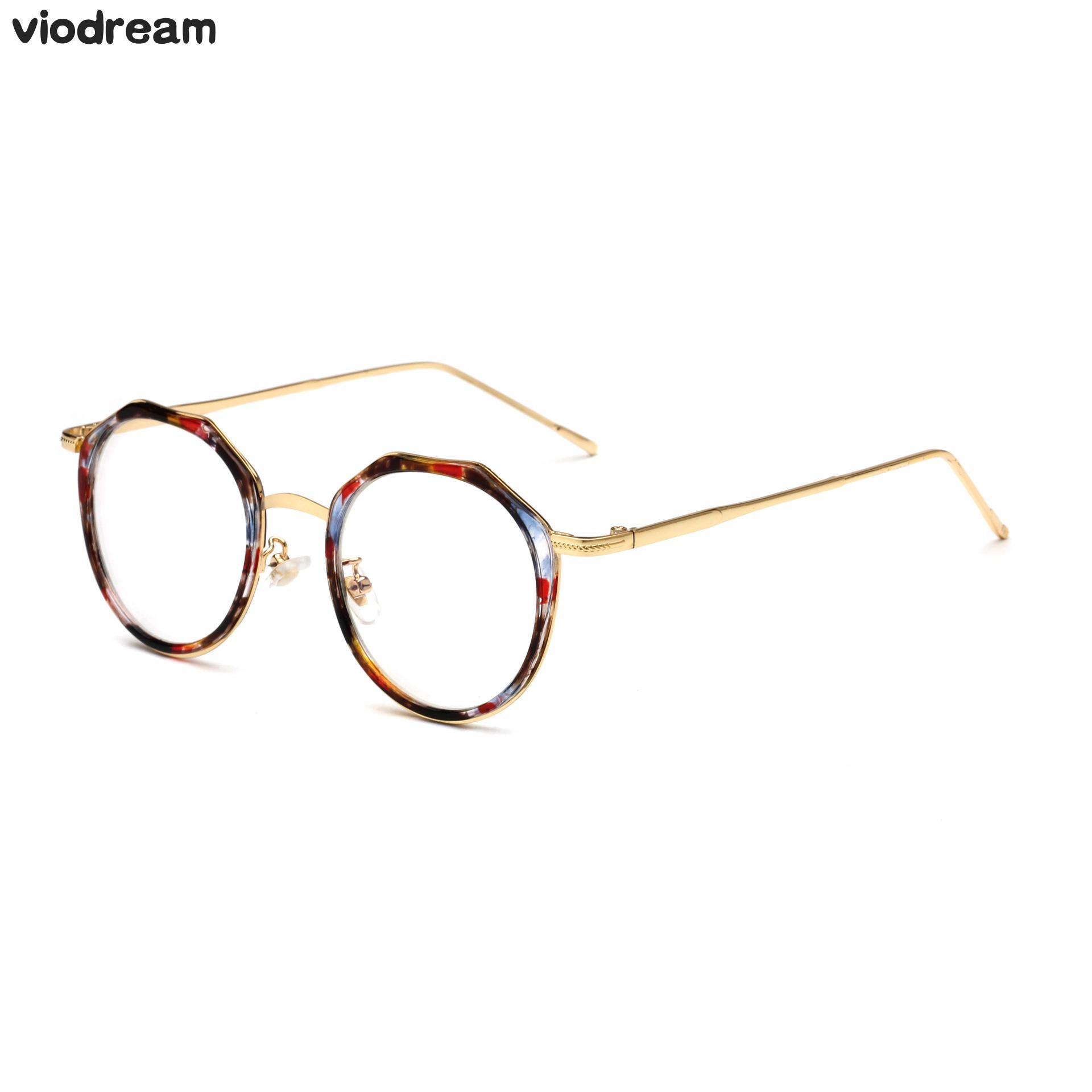 Viodream Retro Round Metal Anti Blue Ray Glasses Frame Prescription ...