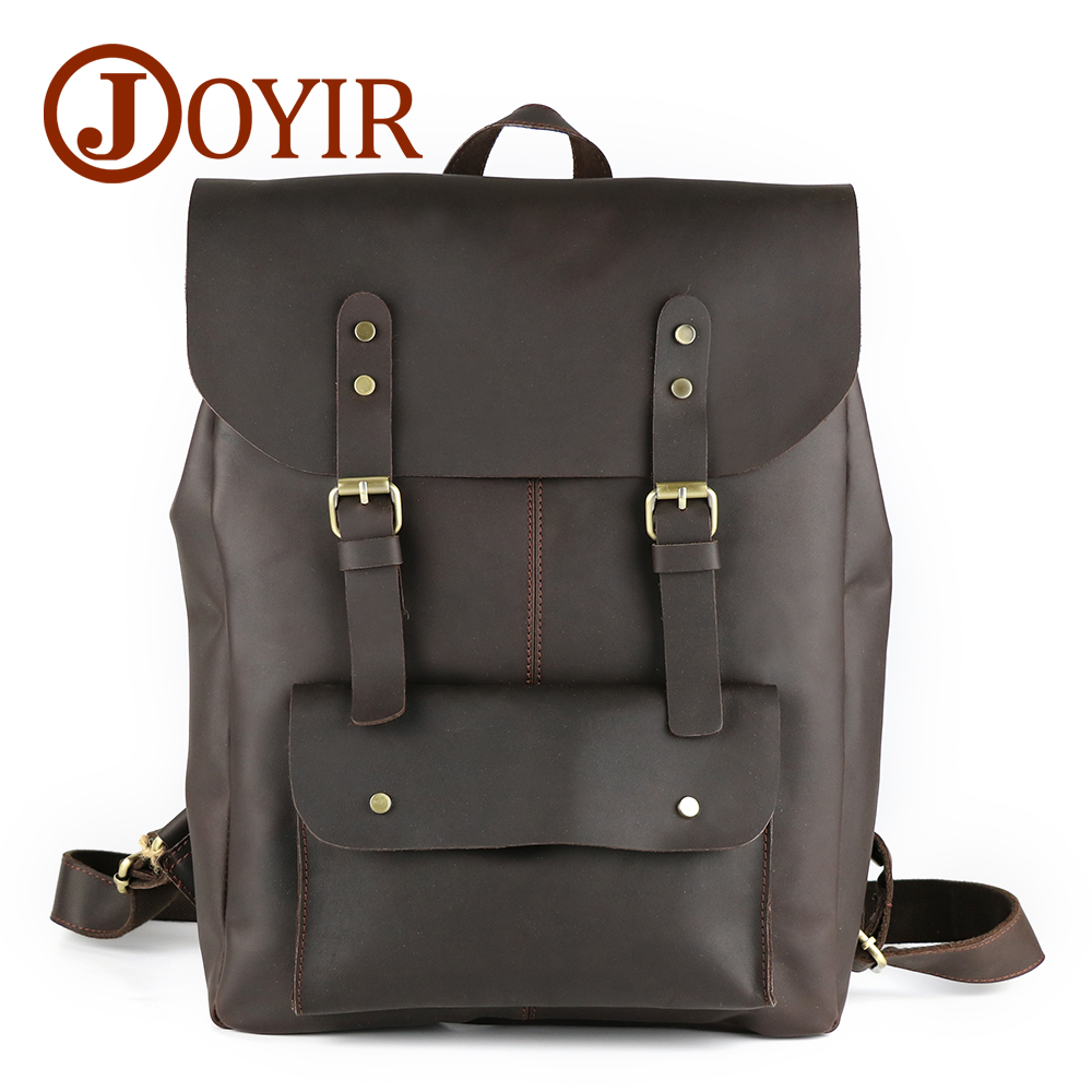 JOYIR Crazy Horse Cowhide Men's Backpack Genuine Leather Vintage Daypack Travel Casual School Bags 15 Laptop Bag Mochila Male men genuine leather fashion travel university college school bag designer male coffee backpack daypack student laptop bag 1170c
