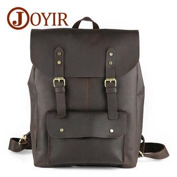 "JOYIR Crazy Horse Cowhide Men's Backpack Genuine Leather Vintage Daypack Travel Casual School Bags 15"" Laptop Bag Mochila Male"