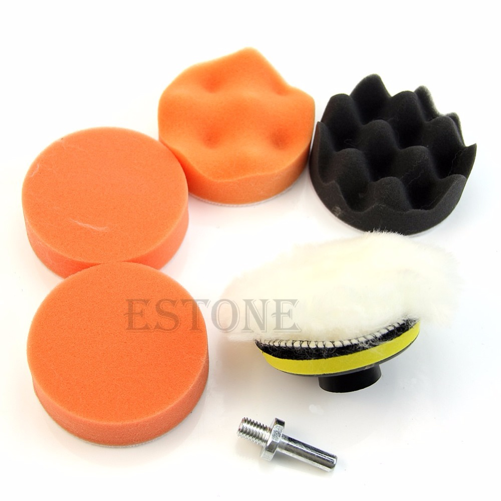 1set 3 inch buffing pad auto car polishing wheel kit buffer m10 drill adapter 7pcs