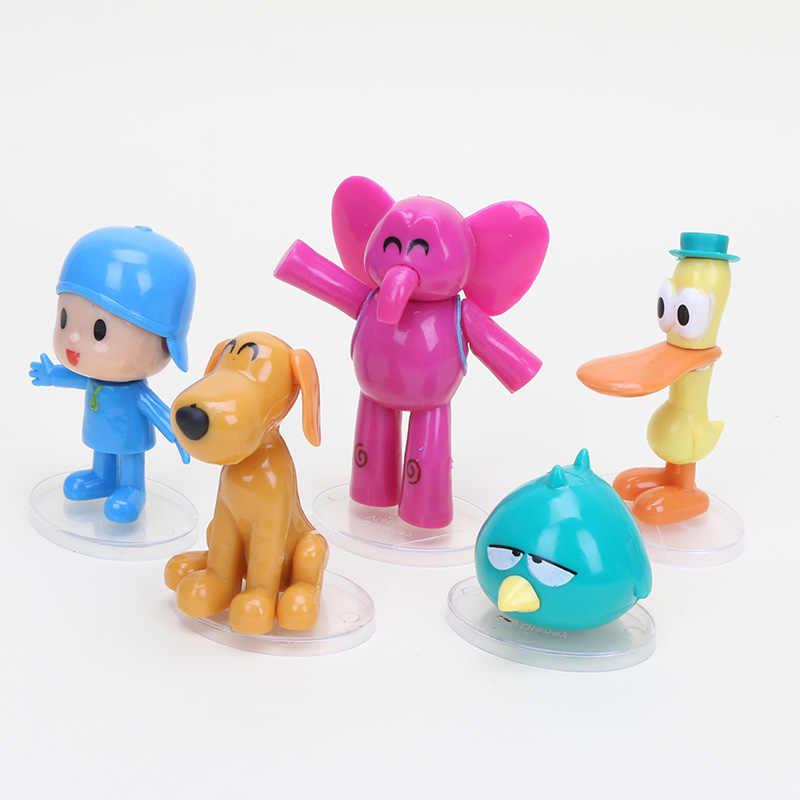 5 pçs/set Brinquedos Bonitos do bebê Pocoyo ELLY pato Loula Pássaro Sonolento PVC Figuras de Ação Boneca de Brinquedo Caçoa o Presente de Natal