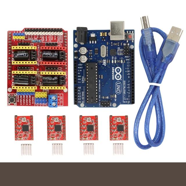 CNC Shield Expansion Board V3.0 + UNO R3 Board for Arduino + Stepper Moto Driver A4988 With Heatsink Kits for Arduino