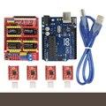 CNC Tarjeta de Expansión Shield V3.0 + UNO R3 Junta para arduino + kits de moto conductor a4988 stepper con disipador de calor para Arduino