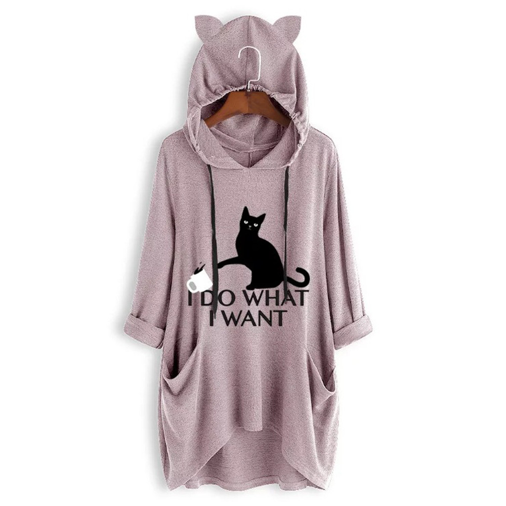 Women Casual Printed Cat Ear Hooded T-Shirt Long Sleeves Pocket Irregular fashion 28