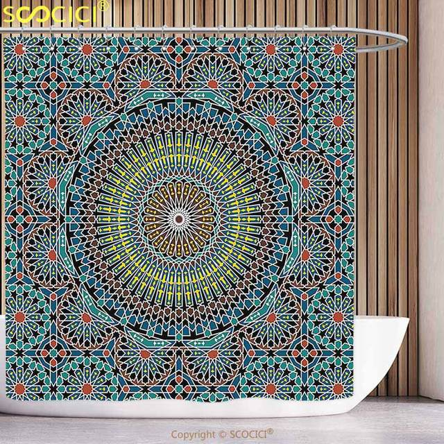 Amazing Waterproof Shower Curtain Geometric Decor Traditional Middle Eastern  Moroccan Arabesque Culture Artful Design Slate Blue Ruby