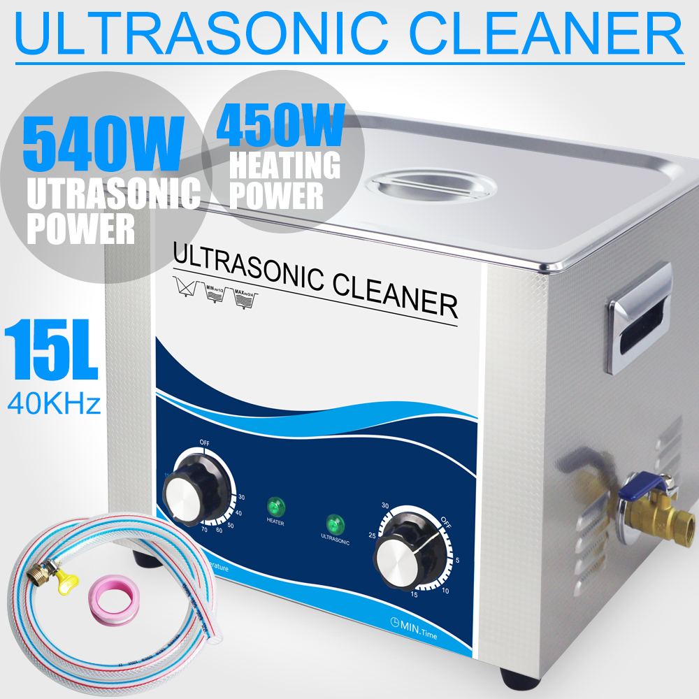 15L Ultrasonic Cleaner Bath 540W/360W Timer and Heater Industrial Electronic Transducer Lab Hardware Car Tool PCB Circuit Board