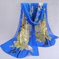 2017 mujeres de la manera Accesorios de la bufanda de pashmina mantón de la impresión de primavera y verano de gasa de seda del cabo tippet silenciador