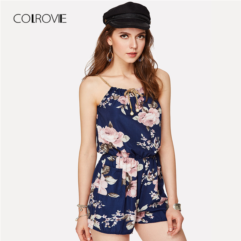 COLROVIE Floral Print Random Self Tie Cami Romper Holiday Spaghetti Strap Women Rompers Summer Beach Loose Playsuits