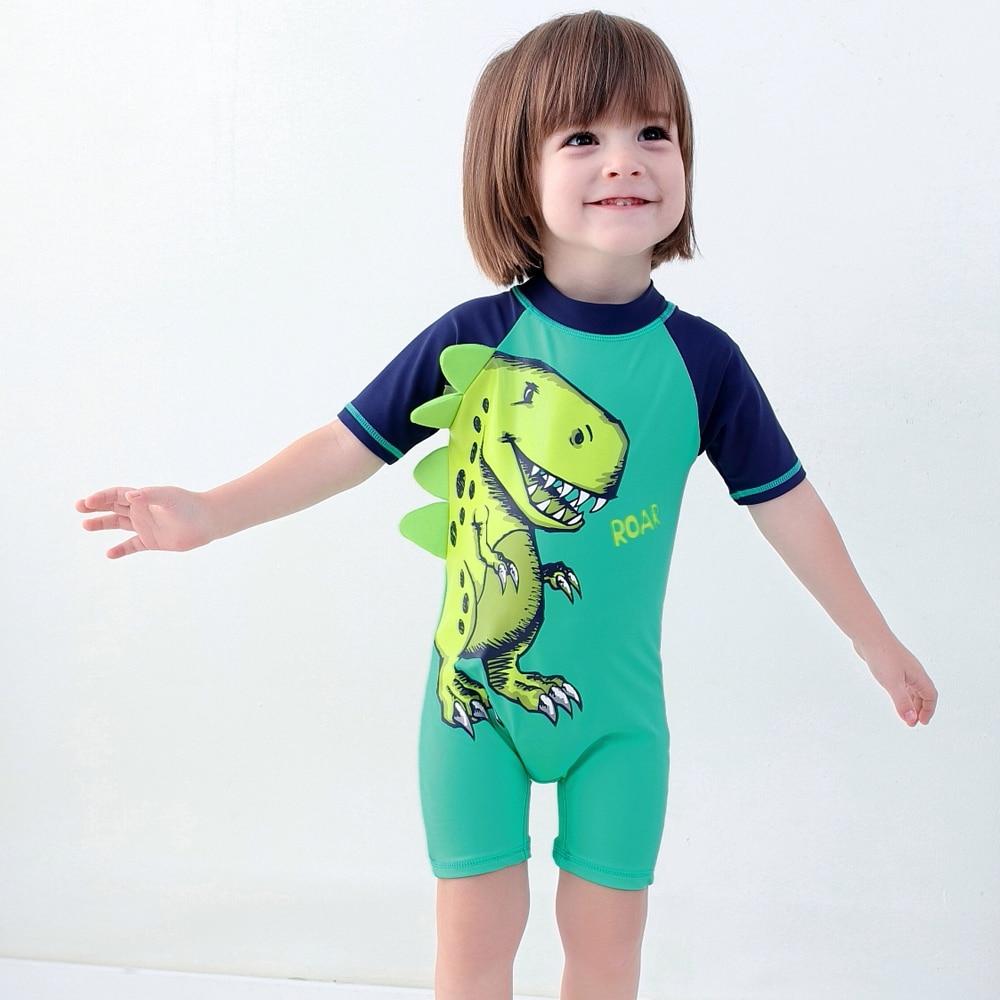 Toddler//Baby Boy Long Sleeve Round Neck One Piece Swimsuit Little Boys Rash Guard Sun Protection Swimwear Kids Beachwear