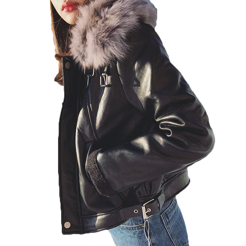 2018 New Fall Winter Imitation Fox Fur Collar PU Locomotive   Leather   Jackets Women Plus Velvet Lamb Wool Coat Short Outwear Z105