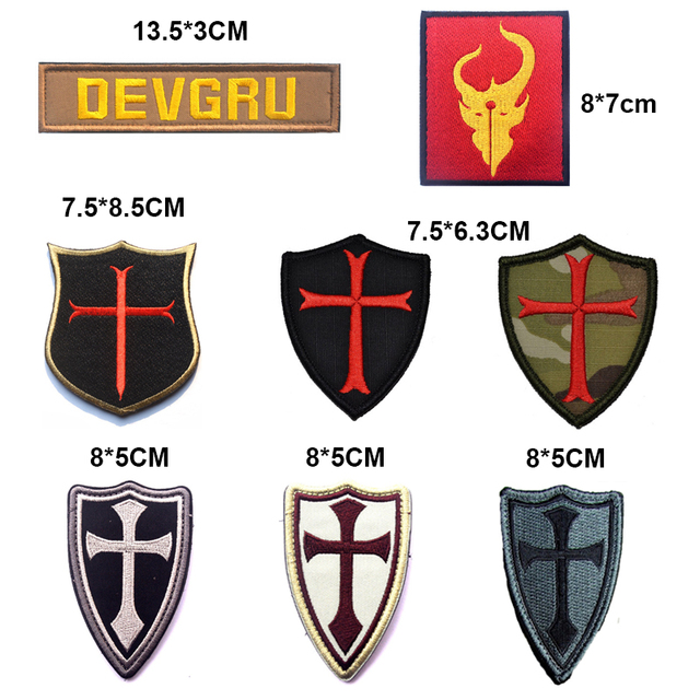 Military Embroidery Patch Army Badge Cross Crusader Shield Navy Seal DEVGRU Tactical Forest 3D