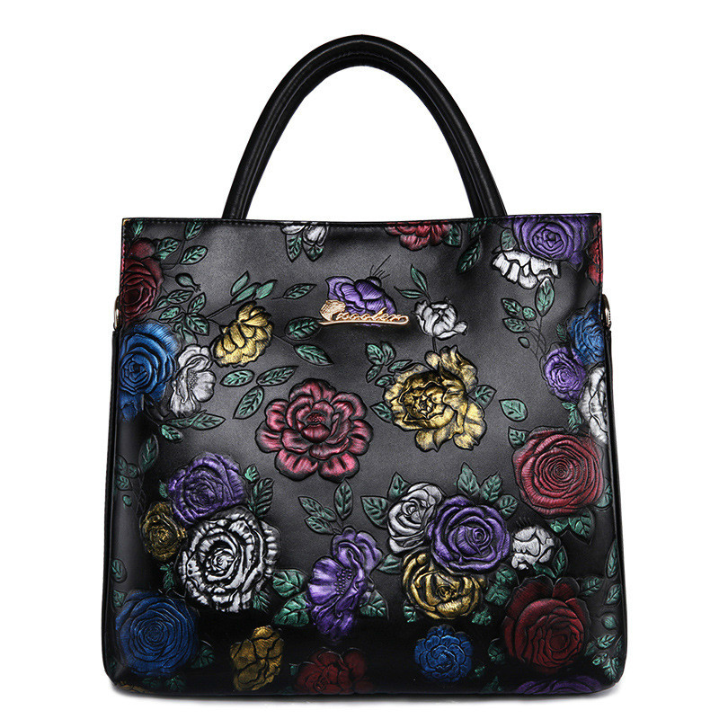 Genuine Leather Handbag Female Tote Bag Quality Floral Embossed Lady Shoulder Bag